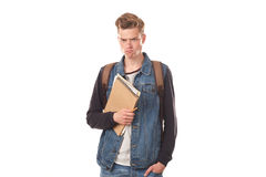 Schoolboy with notepads Royalty Free Stock Photography