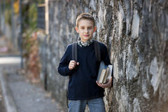 Schoolboy outdoors Royalty Free Stock Photos