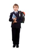 Schoolboy over white Royalty Free Stock Photo