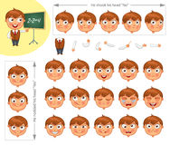 Schoolboy. Parts of body template for design work and animation. Face and body elements. Funny cartoon character. He nodded his head yes. He shook his head no Stock Images