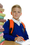 Schoolboy with pen and notebook Royalty Free Stock Photos