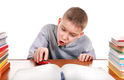 Schoolboy plays with a Toy Stock Photography