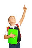 Schoolboy pointing up Stock Image