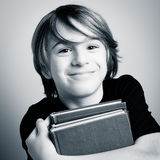 Schoolboy portrait with books Royalty Free Stock Images