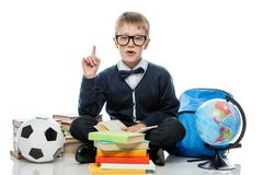 Schoolboy posing on white background. With a bunch of books Stock Photography