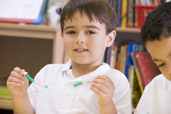 A schoolboy in a primary class Royalty Free Stock Photo