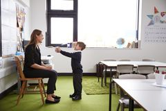 Schoolboy at primary school presenting a gift to his female teacher in a classroom, full length, side view royalty free stock image