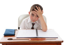 Schoolboy problems learning difficulties Royalty Free Stock Photo
