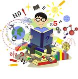 Schoolboy read a book Stock Photo