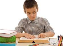 Schoolboy reading a book Royalty Free Stock Photos