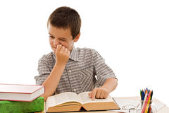 Schoolboy reading a book Stock Photography