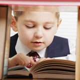 Schoolboy reading book Stock Photo