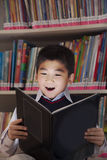 Schoolboy reading a book with her face lit up Stock Images
