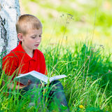 Schoolboy reading the book at  nature. Cute schoolboy reading the book at  nature Stock Image