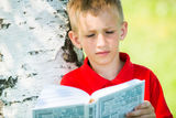 Schoolboy reading the book at  nature Stock Photography