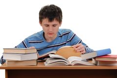 Schoolboy Reading Books Royalty Free Stock Photo