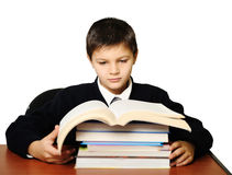 The schoolboy reads a book Stock Images