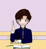 Schoolboy is ready to answer a lesson. The joyful schoolboy is ready to answer a lesson at school Stock Images