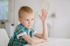 Schoolboy ready to answer question Stock Images