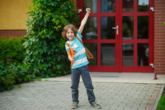 The schoolboy rejoices to the beginning of summer vacation. Stock Image