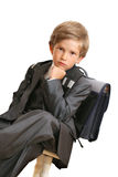 The schoolboy with a satchel Stock Photography