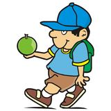 Schoolboy with satchel and apple. Vector icon. Funny illustration Stock Photos