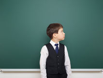 Schoolboy and the school board Stock Images