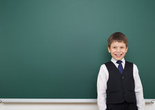Schoolboy and the school board Stock Photo
