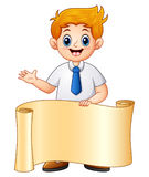 Schoolboy in school uniform with paper roll Stock Images