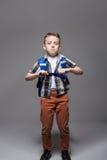 Schoolboy with schoolbag, studio photo shoot Royalty Free Stock Photos