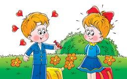 Schoolboy and schoolgirl. Clip-art (illustration) for your design, scrapbook, album, postcard, cover, etc Stock Photos