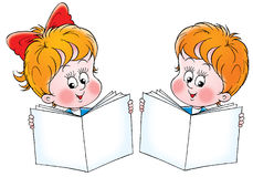 Schoolboy and schoolgirl. Clip-art (illustration) for your design, scrapbook, album, postcard, cover, etc Stock Image