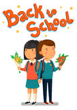 Schoolboy and schoolgirl with Back to school text. Happy Boy and girl with flowers holding hands. Couple with backpacks. Vector Schoolboy and schoolgirl with Stock Image