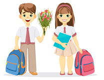 Schoolboy and schoolgirl with backpack. Royalty Free Stock Photography