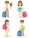 Schoolboy and schoolgirl with backpack. Coming back to school. Cute smiling boy and girl. Cartoon characters. Set of four vector illustrations Stock Photos