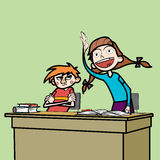 Schoolboy and schoolgirl in the classroom. Line art comic caricature. Girl student wants to respond to the instructions of the teacher. Losers boy glumly Royalty Free Stock Image