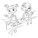 Schoolboy and schoolgirl are flying on paper airplane. A schoolboy and a schoolgirl are flying on a paper airplane. Back to school. Funny cartoon character stock illustration