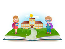 Schoolboy and schoolgirl with opened book. Vector illustration Royalty Free Stock Photo