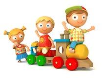 Schoolboy and schoolgirl play toy train Stock Photo