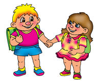 Schoolboy and schoolgirl  together Stock Photos
