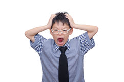 Schoolboy screaming Stock Photo
