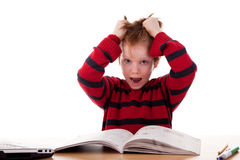 Schoolboy screaming and tearing his hair Royalty Free Stock Photography