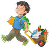 Schoolboy. Serious schoolboy comes with a cart full of textbooks, pencils and other school supplies Royalty Free Stock Image