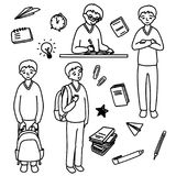 Schoolboy. Set. The schoolboy is in different poses. School items Royalty Free Stock Photography