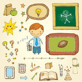Schoolboy Set. Vector school design set with cute little boy Stock Image