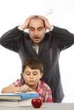Schoolboy and shocked  teacher Royalty Free Stock Photo