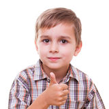 Schoolboy showing numbers with hand Royalty Free Stock Photography