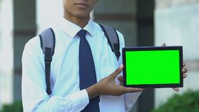 Schoolboy showing tablet with green screen, advertise of ebook library apps. Stock footage stock video
