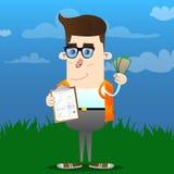 Schoolboy shows finance report and money bills. vector illustration