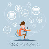 Schoolboy Sit School Desk Abstract Education Background Concept. Flat Vector Illustration Royalty Free Stock Images
